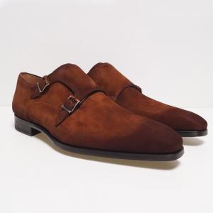 magnanni suede monk shoe