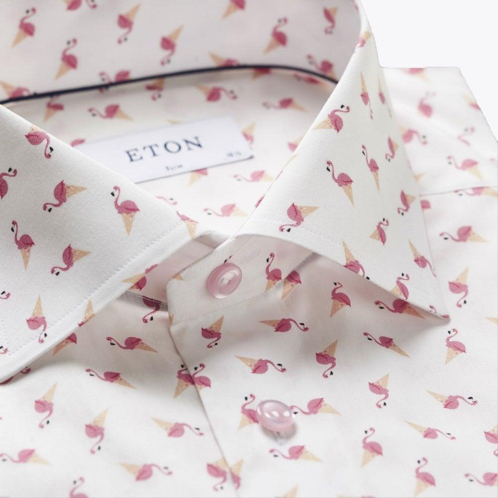 Flat display picture of Eton flamingo print shirt in pink/red