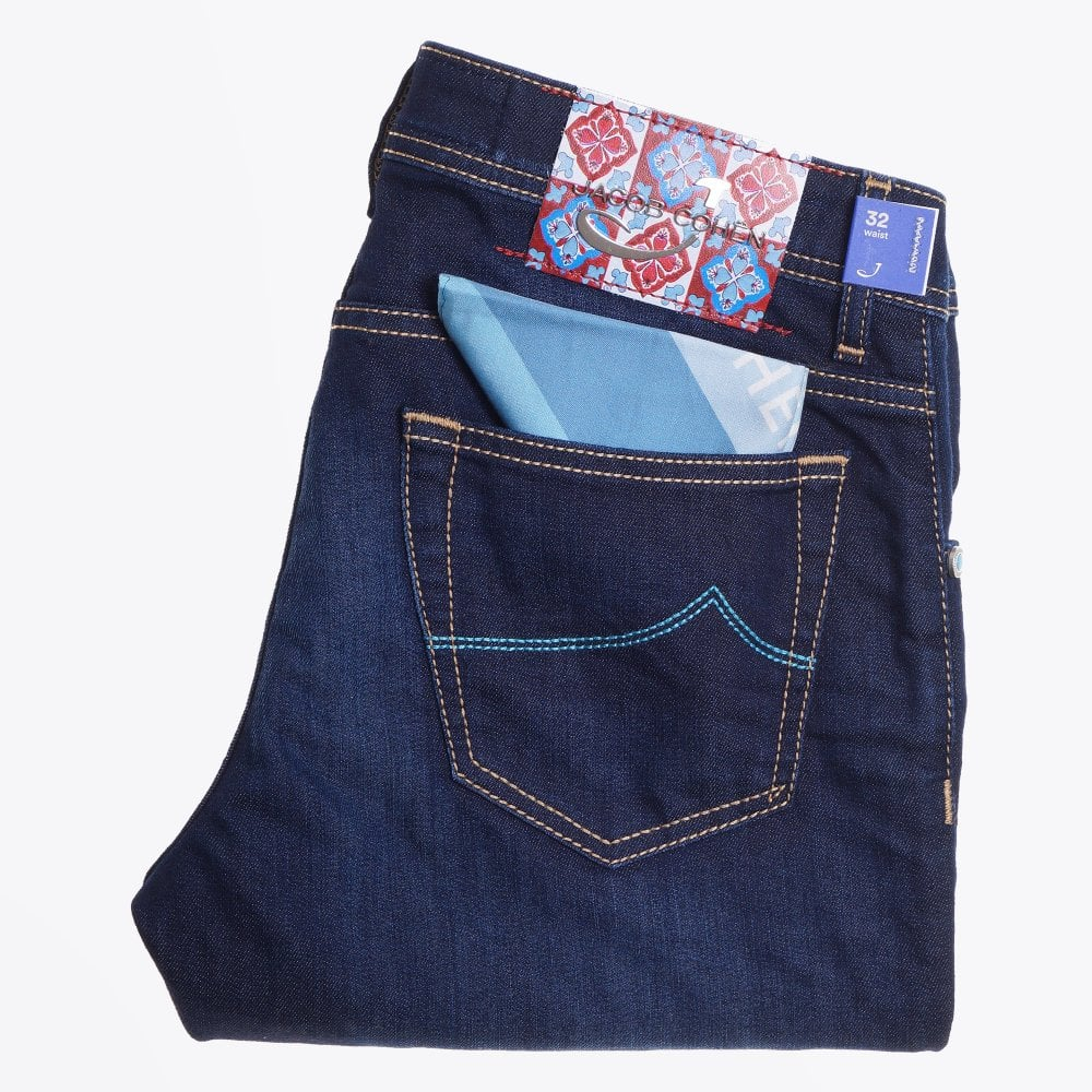 Display of Jacob Cohen mid rise liberty jeans in dark navy