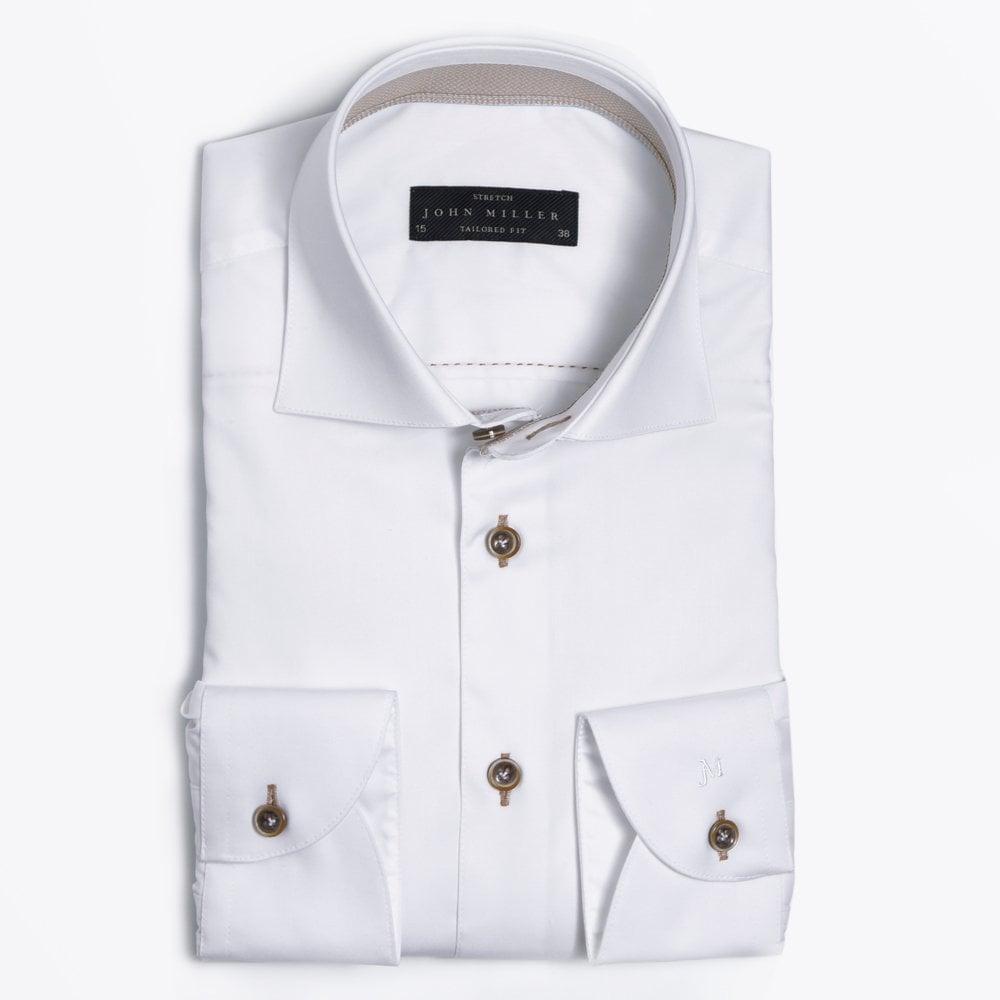 Flat display picture of John Miller printed insert shirt in white