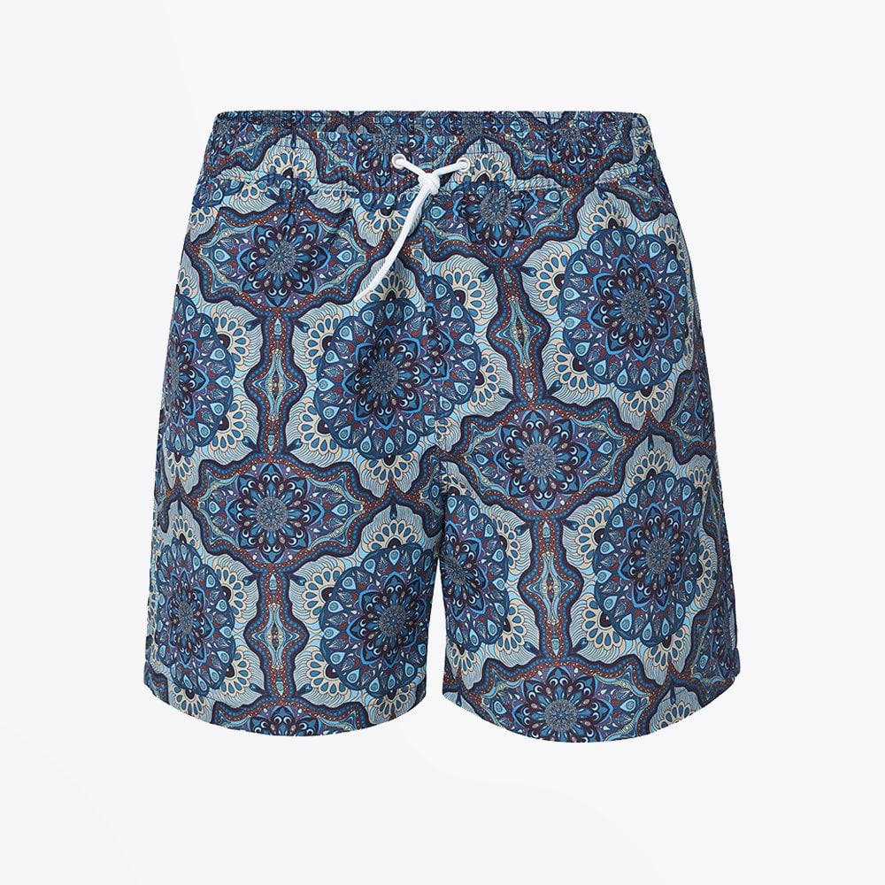 display of Les Deux psychedelic printed swim shorts