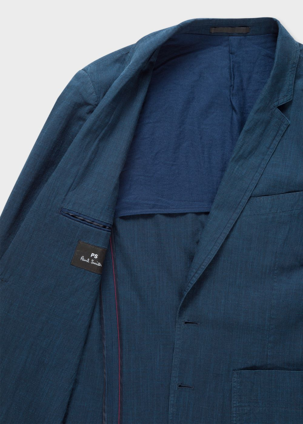 Men's Mid-Fit Navy Houndstooth Buggy-Lined Cotton-Linen Blazer