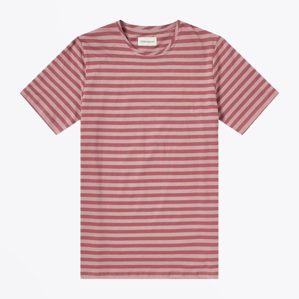 display of Oliver Spencer pink stripe tee