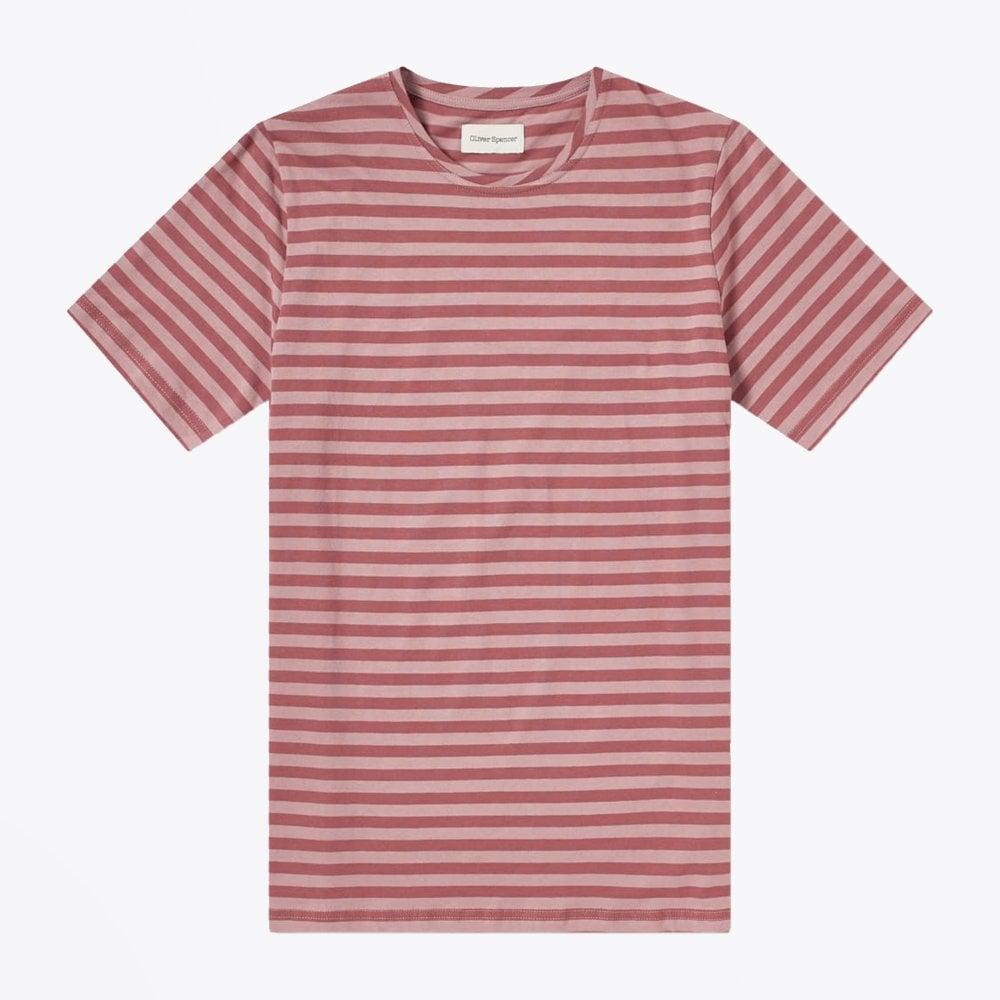 display of Oliver Spencer pink stripe tee