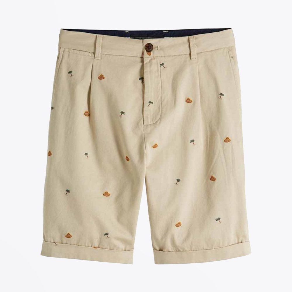 display of scotch & Soda embroidered chino shorts